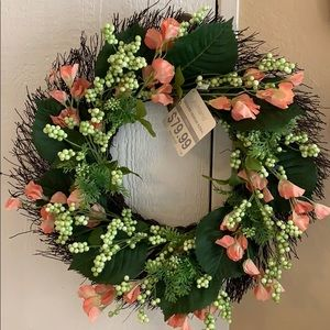 """24"""" Wreath with Beautiful Peach Color Flowers"""